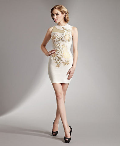 gold print bandage dress