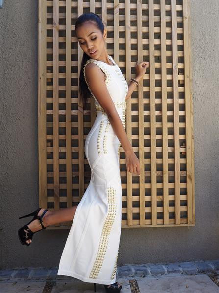 Gold and white embellished dress