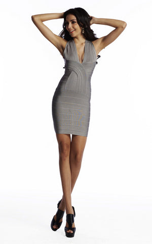 gray cross back bandage dress