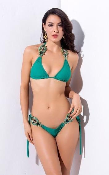 crystal green bikini - front view on model