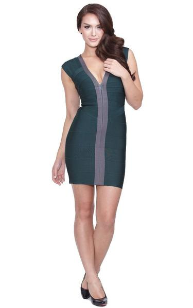 green front zipper dress