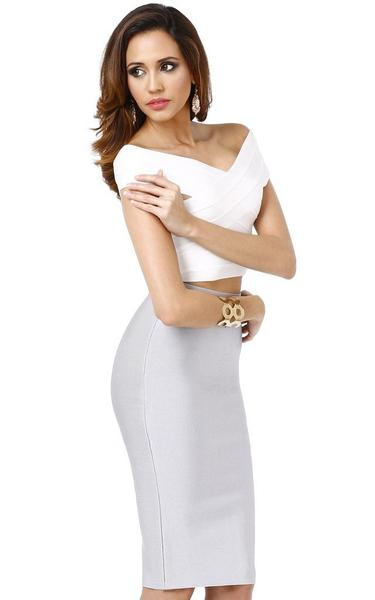 grey skirt white top - side view