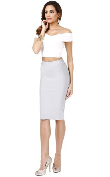 grey skirt white top - on model