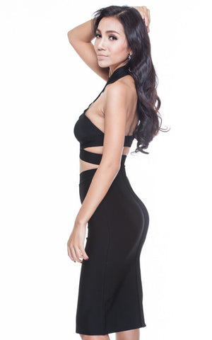 halter black two piece bandage set
