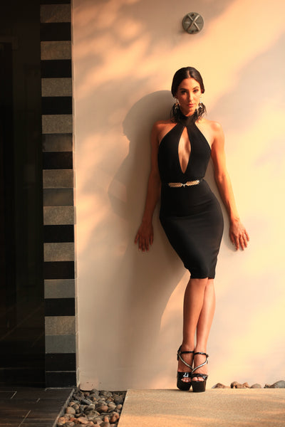 sexy black halter dress