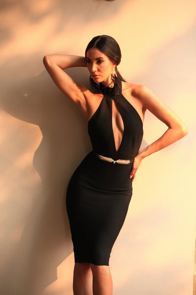 black halter bandage dress