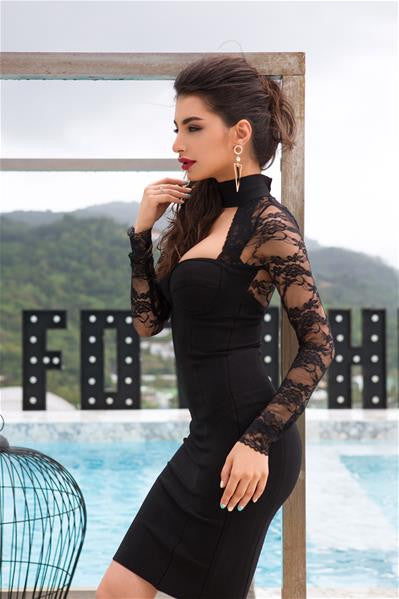 lace bodycon dress on model