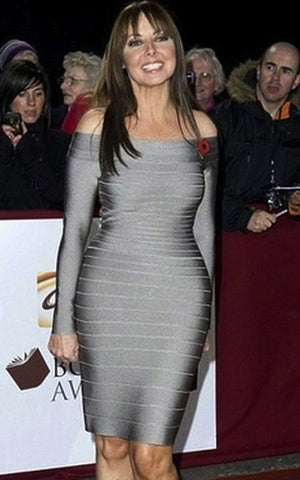 grey long sleeved celebrity bandage dress