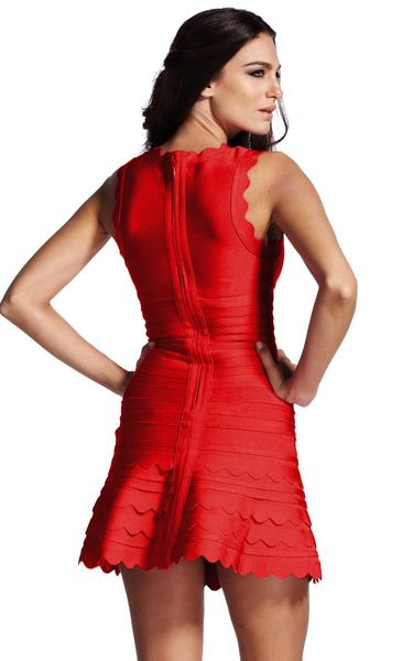 red flare dress - back view on model