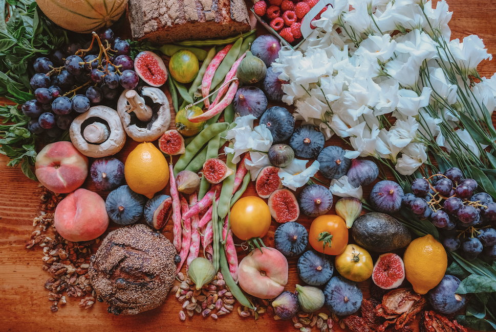 Table full of bright and colorful immune boosting foods