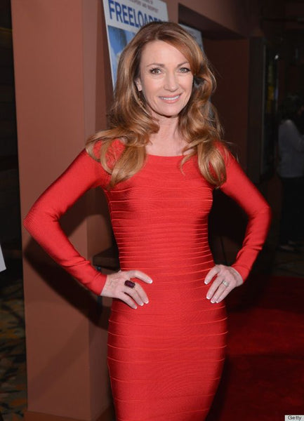 jane seymour in a red bandage dress