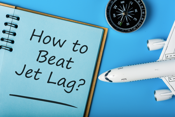 How to beat Jet Lag - Stop Jet Lag symbol with airplane and compass