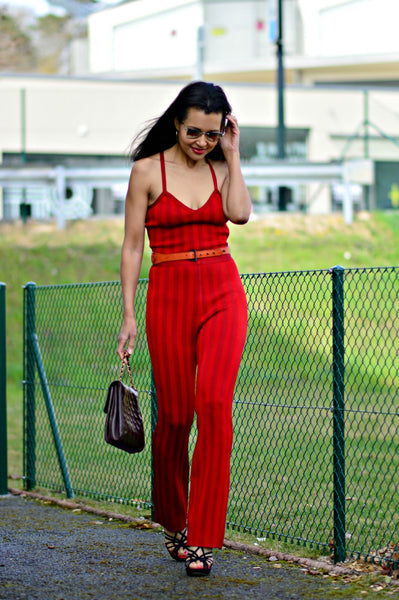 sexy red bandage jumpsuit
