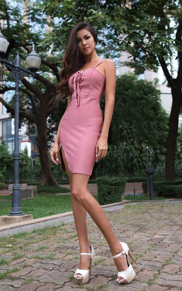 lace up front dress - front view