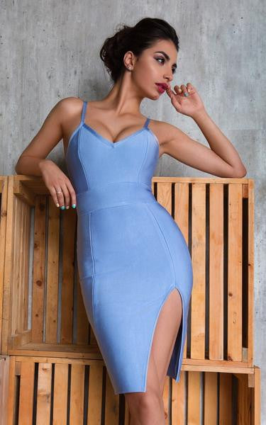 light blue slip dress