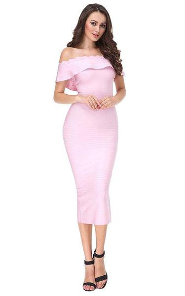 light pink midi dress - on model