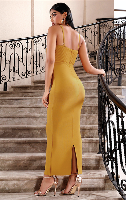 Rust colored long bandage dress - back view