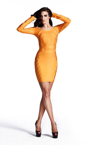 long sleeve orange bandage dress