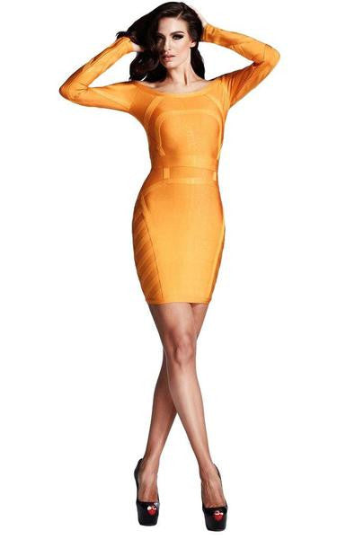 Long sleeve orange dress on model