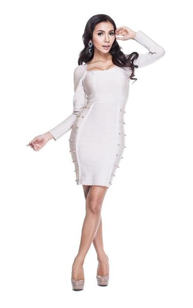 long sleeve studded dress - on model
