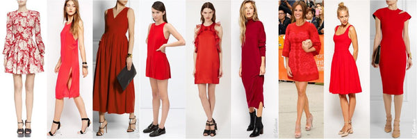 collage of models in red dresses