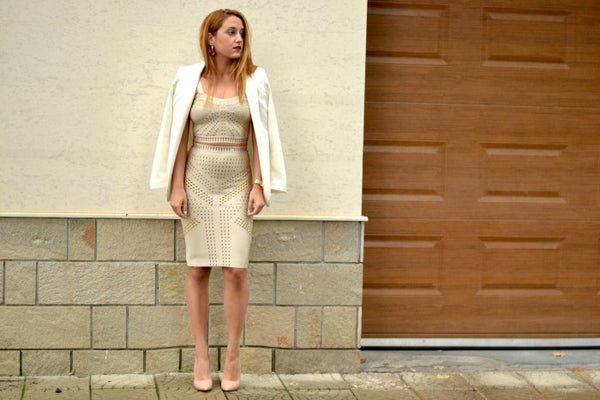 bandage dress with coat