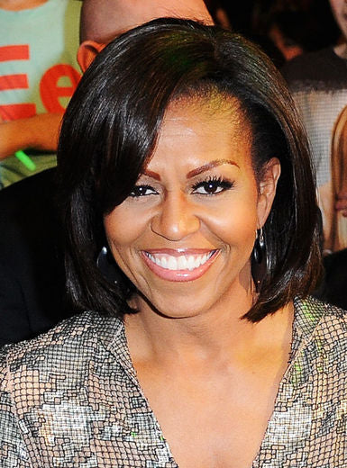 Michelle Obama wearing her classic hair cut