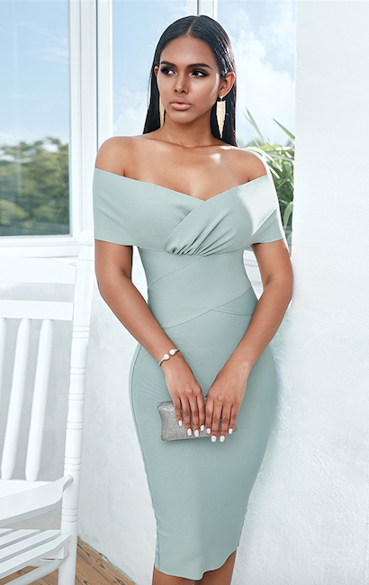 Mint green off shoulder midi bandage dress - front view