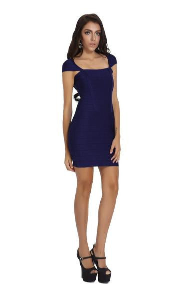 navy blue cap sleeve dress - full length