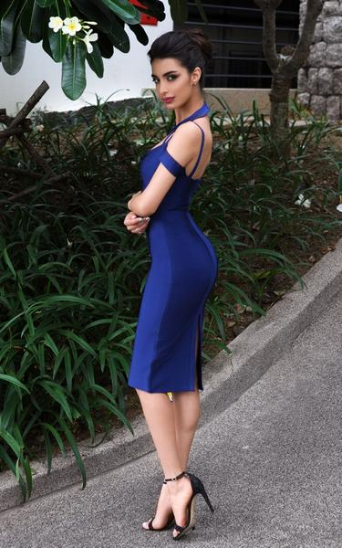 navy choker bandage dress