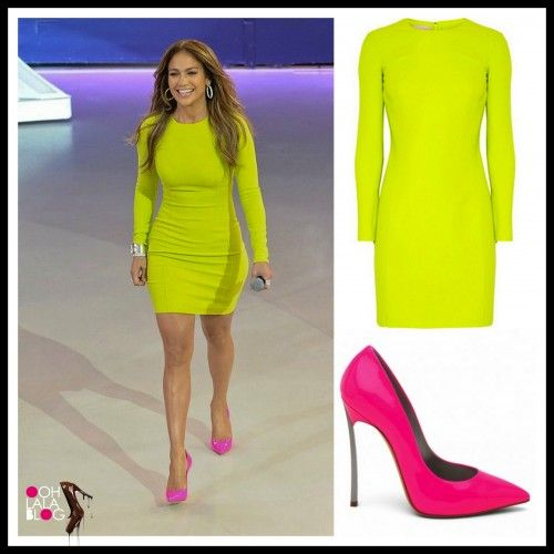 neon yellow bandage dress with pink heels