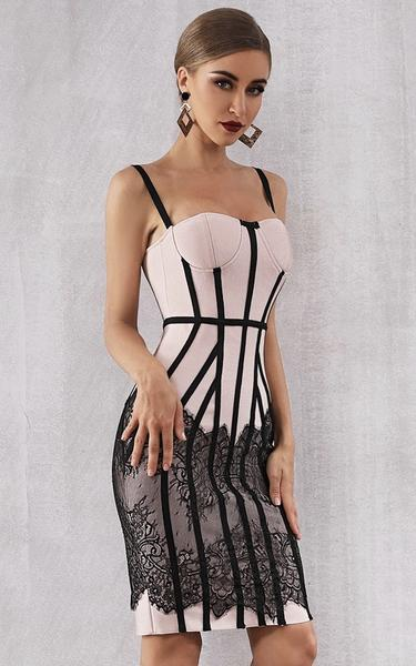 Corset inspired bandage dress - side view on model