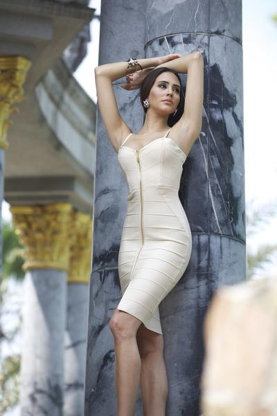 nude front zipper bandage dress