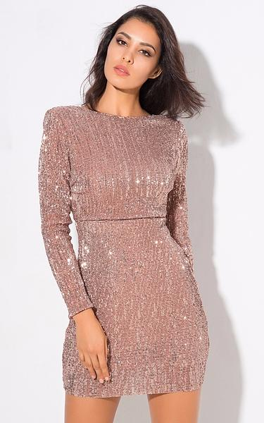 nude glitter bodycon dress - front view