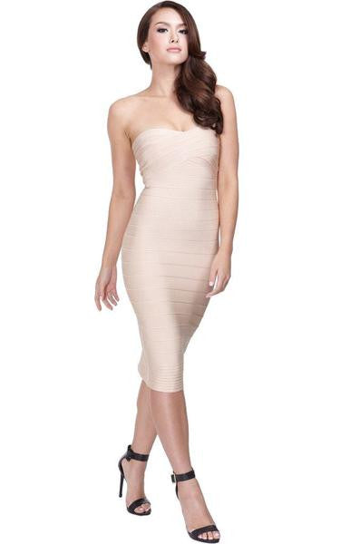 nude strapless midi dress