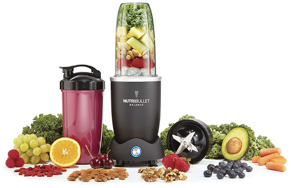 nutribullet blender surrounded by blend ingredients