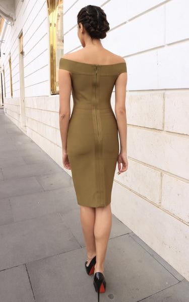olive green bodycon dress - back view