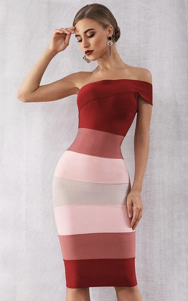 One shoulder gradient bandage dress from the kewl shop