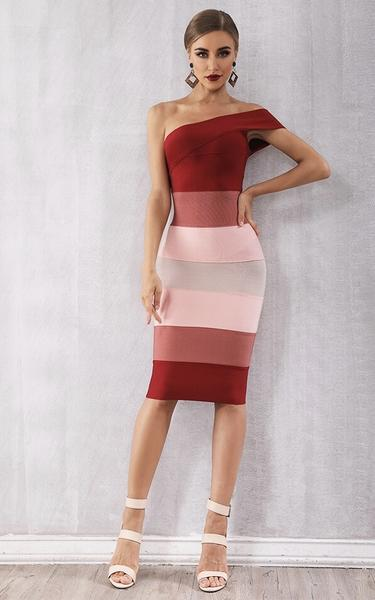 red gradient one shoulder - full view on model