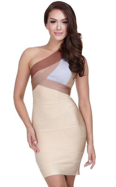 beige one shoulder dress