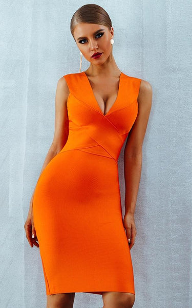 sienna bright orange bandage dress on stunning model