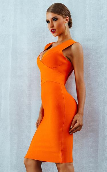 bright orange bandage dress - SIDE view on model