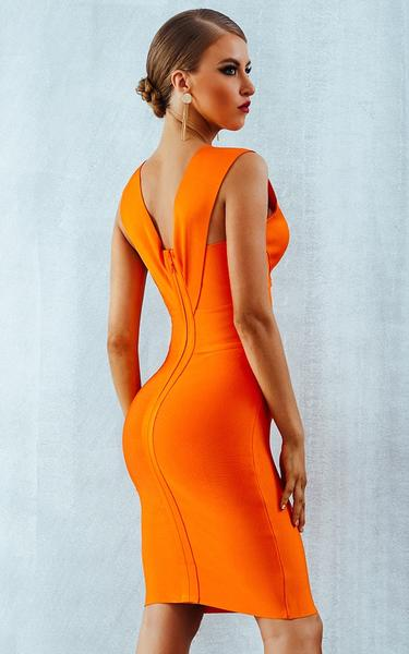 bright orange bandage dress - back view on model