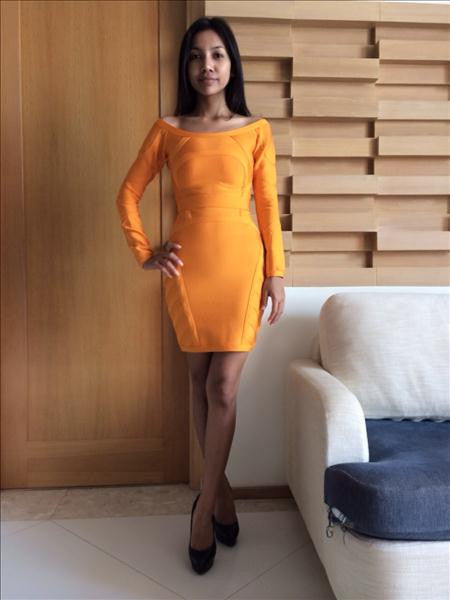 orange long sleeve dress - customer image