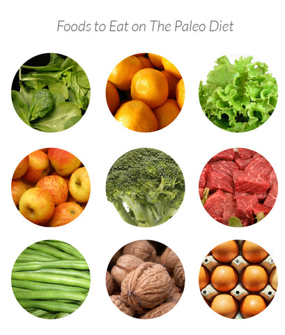 Foods to eat on Paleo diet: meat, fish, seafood, vegetables, fruits, eggs, nuts, and plant based oils