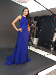 blue formal evening dress