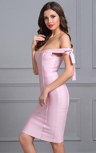 pink bow knot bandage dress - side view on model