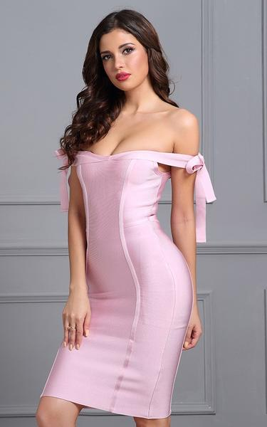pink bow knot dress - front view on model