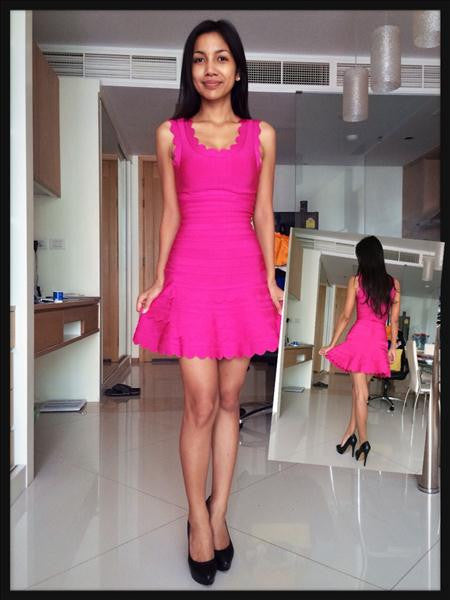 pink flare dress - front and back