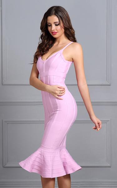 pink flared bandage dress - on model